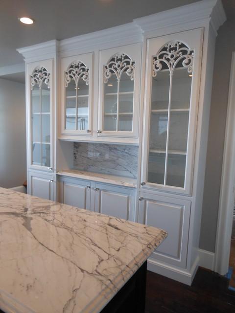 Elegant carved glass cabinet doors for Carved kitchen cabinets