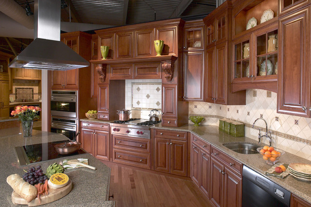 Elegant cherry gourmet kitchen traditional kitchen for Elegant traditional kitchens