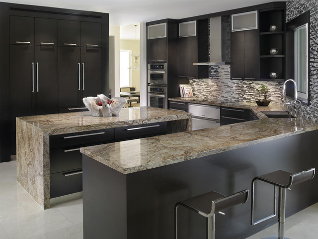 Elegant kitchen with tiberius gold granite countertops for Elegant modern kitchen designs