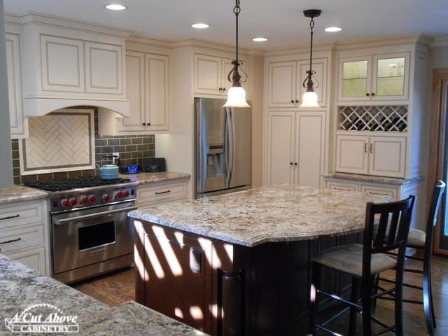 Elegant White Kitchen Dark Mocha Island Traditional