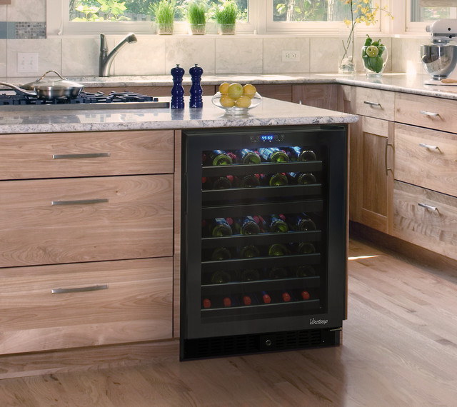 Element by vinotemp built in 46 bottle dual zone touch for Modern homes 8 bottle wine cooler