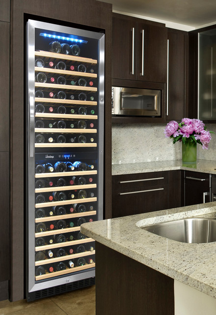 Kitchen with 155 Bottle Dual Zone Wine Cooler contemporary-kitchen