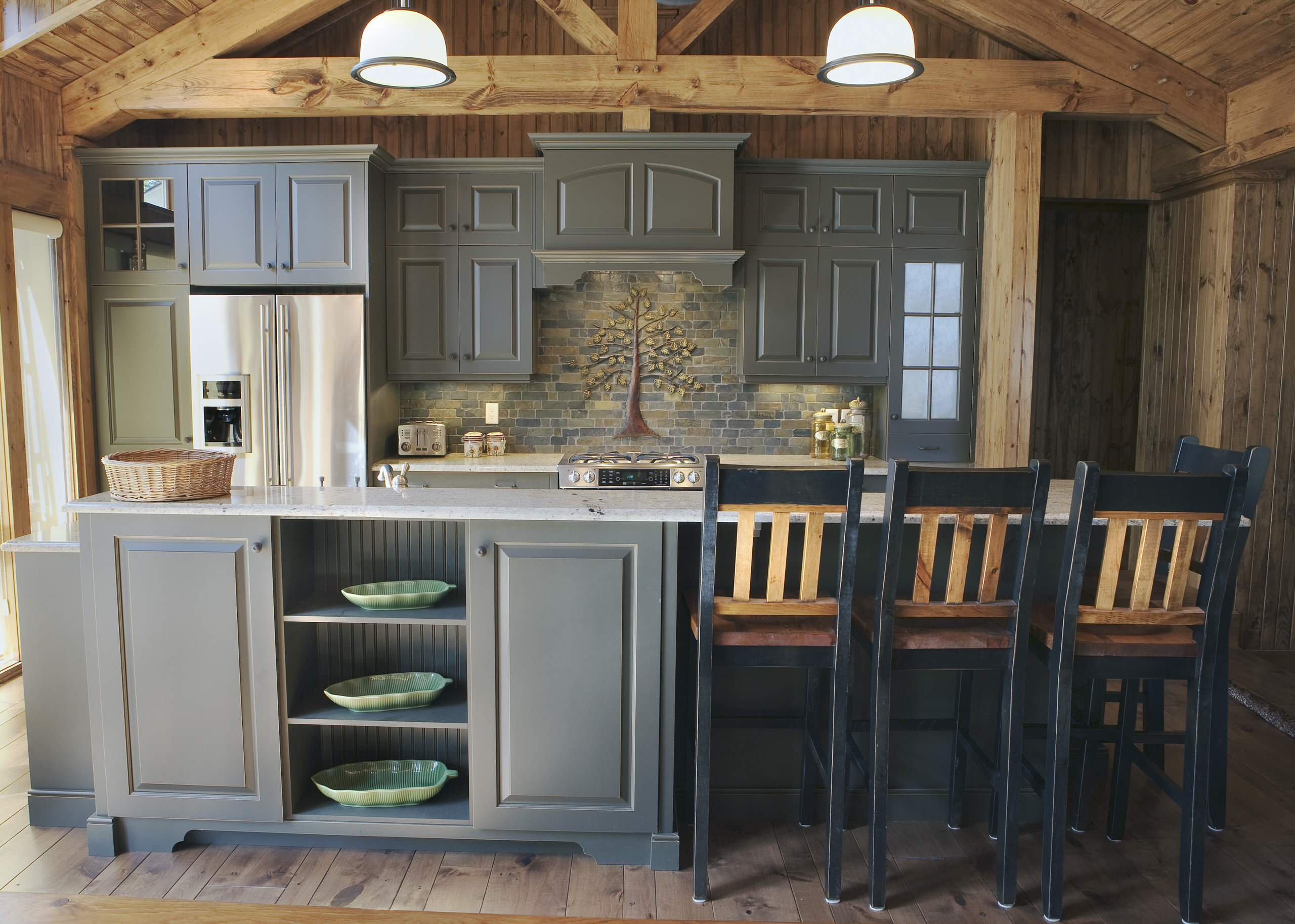 75 Beautiful Kitchen With Gray Cabinets And Slate Backsplash Pictures Ideas July 2021 Houzz