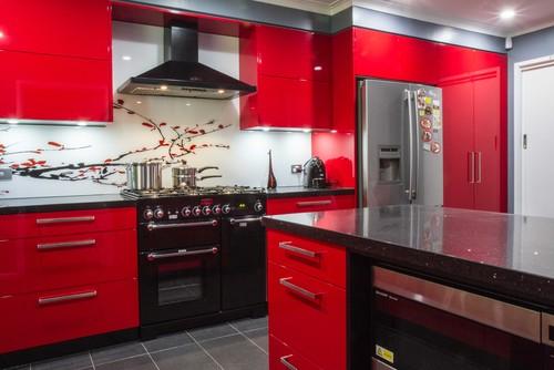 キッチン 赤 黒