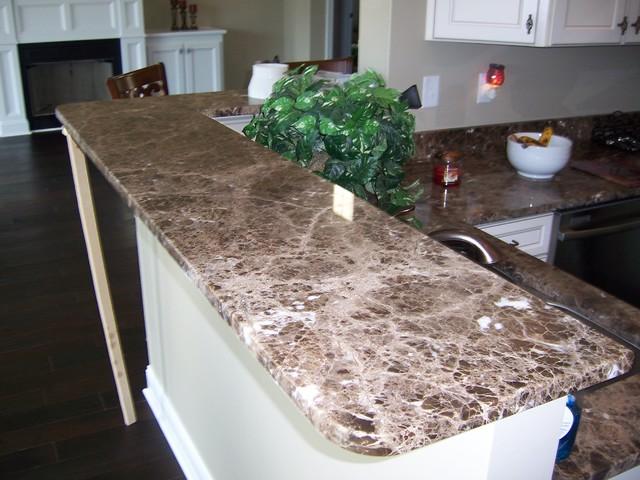 Emperador Dark Marble Kitchen Remodel Traditional Kitchen
