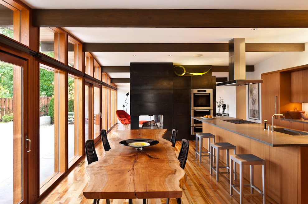 Inspiration for a 1950s kitchen remodel in Seattle with concrete countertops