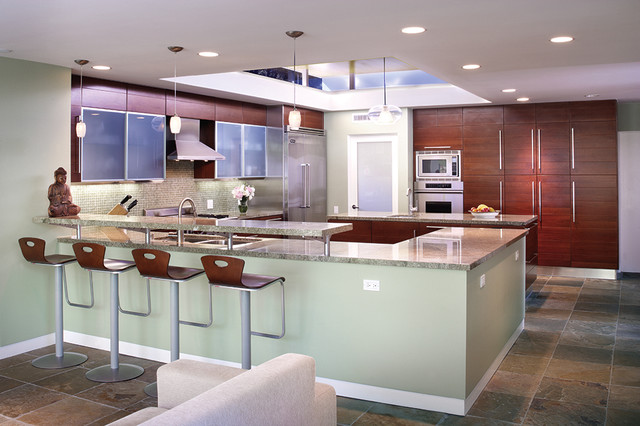 Encino modern contemporary kitchen los angeles by for Floating breakfast bar