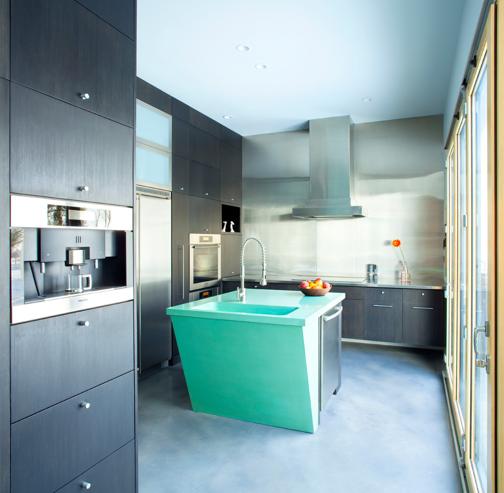 Inspiration for a contemporary enclosed kitchen remodel in Other with an integrated sink, flat-panel cabinets, dark wood cabinets, metallic backsplash, metal backsplash and stainless steel appliances