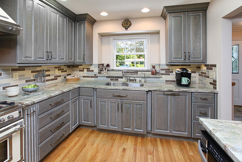What brand are the cabinets what wood what stain what for Grey wood kitchen cabinets