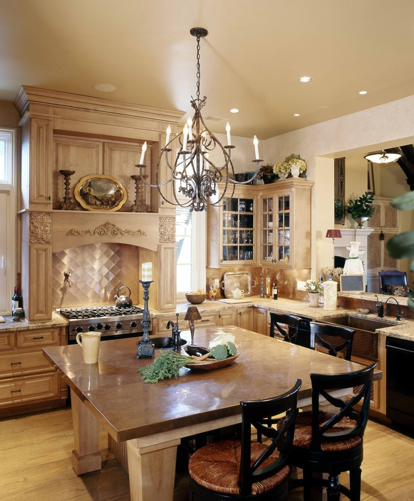 Large elegant l-shaped light wood floor enclosed kitchen photo in Other with copper countertops, a farmhouse sink, raised-panel cabinets, light wood cabinets, stainless steel appliances, metallic backsplash, metal backsplash and an island