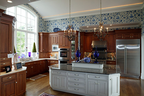 kitchens with two different colored countertops two different countertop colors 9635