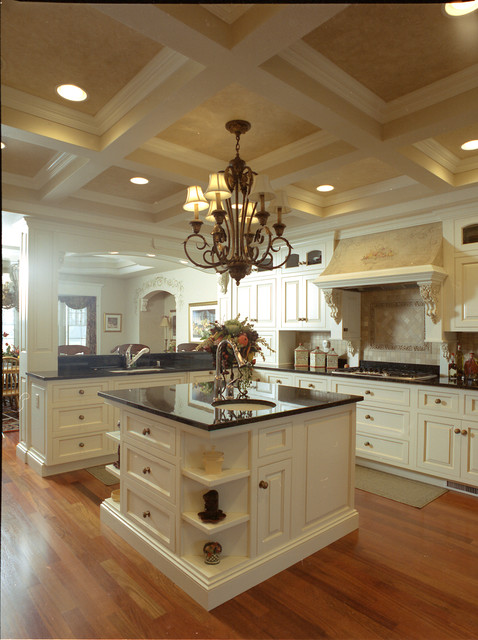 English Country Style Kitchen Painted Glazed Cabinets Traditional