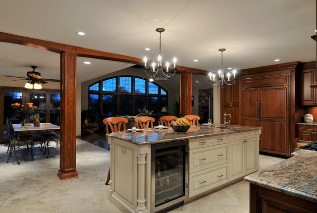 dark kitchen island light cabinets