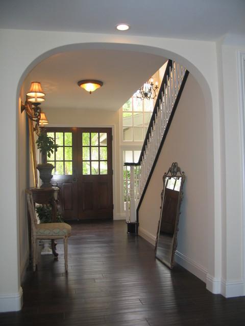 Entry With French Doors Espresso Hardwood Floors