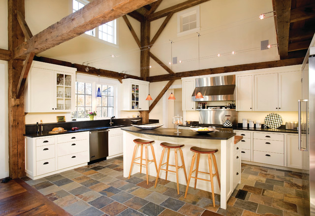 Equestrian estate farmhouse kitchen boston by for Slate kitchen floors with white cabinets