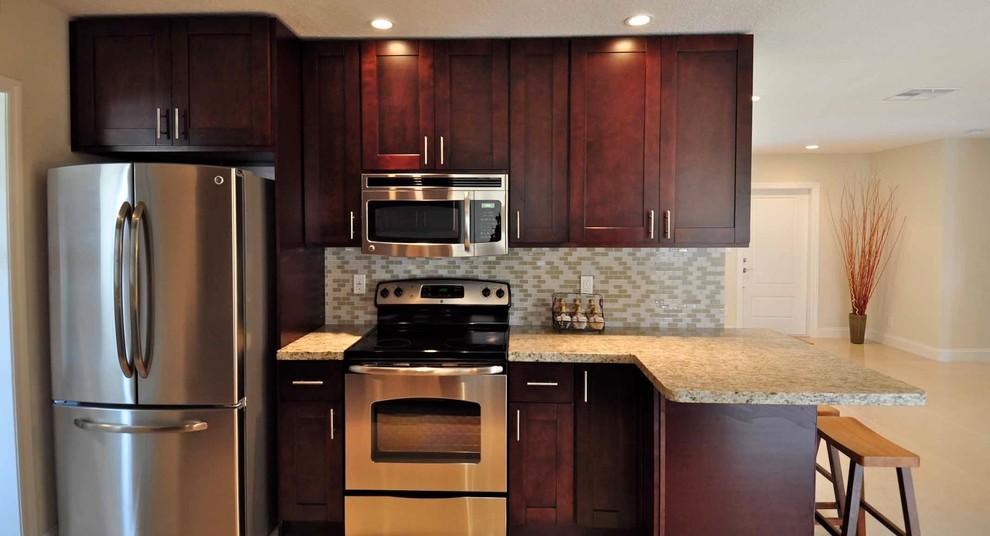 Espresso Kitchen Cabinets with Granite countertop and ...