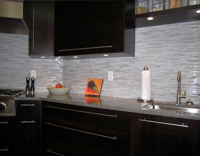 Espresso Kitchen With Glass And Marble Mosaic Tile Backsplash Modern Kit