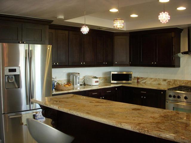 Espresso Shaker Kitchen Cabinets Home Design Traditional