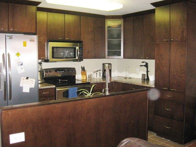 espresso slab maple cabinets modern-kitchen