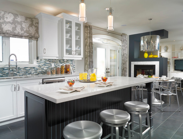 Trendy Kitchen Photo In Toronto With Recessed Panel Cabinets, Matchstick  Tile Backsplash, Multicolored