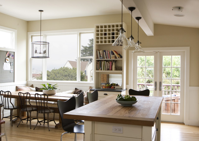 Light over kitchen table houzz country eat in kitchen photo in san francisco with wood countertops workwithnaturefo