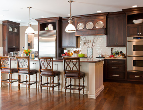 Dark Wood Country Kitchen love the kitchen light and dark wood. really love the stools and