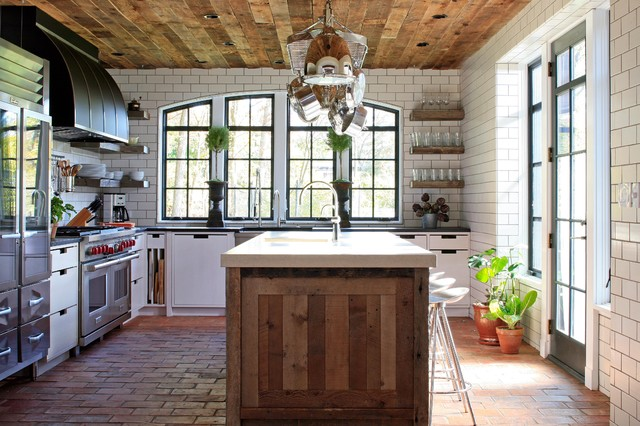 Inspiration For A Contemporary L Shaped Brick Floor Kitchen Remodel In Chicago With Flat