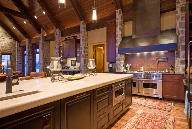 European Mountain Home Rustic Kitchen Other Metro