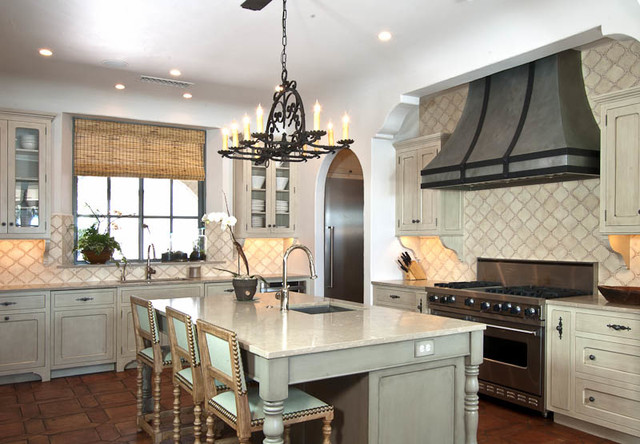 European Traditional Kitchen With A Painted Cream Glaze