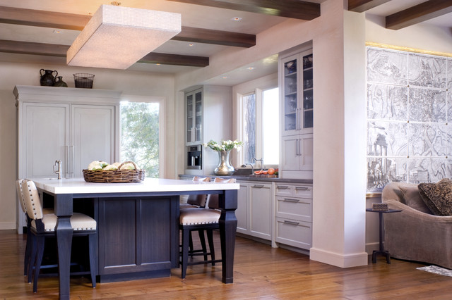 Transitional Kitchen Photo In San Francisco With Glass Front Cabinets And  Paneled Appliances