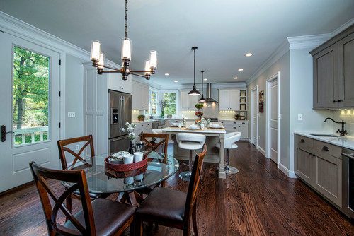 Expansive Bright White Kitchen with Dine-in Area