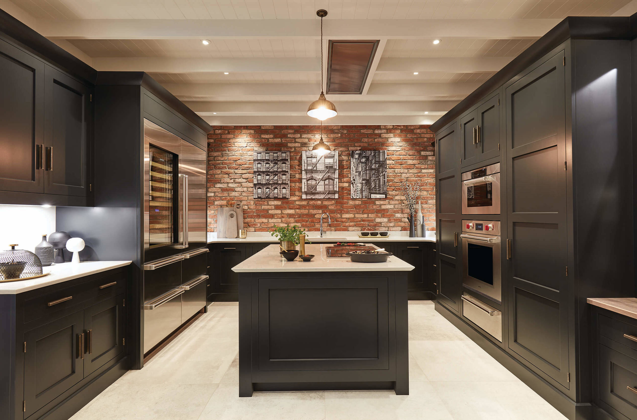 75 Beautiful Kitchen With Black Cabinets And Brick Backsplash Pictures Ideas November 2020 Houzz
