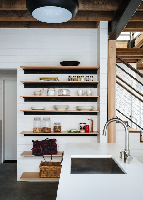 Exposed Pantry Shelves Contemporary Kitchen San
