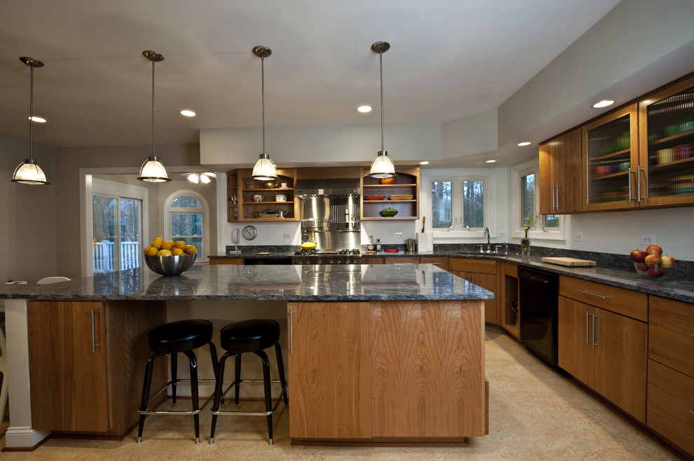 Example of a mid-sized trendy l-shaped linoleum floor open concept kitchen design in DC Metro with an undermount sink, open cabinets, medium tone wood cabinets, granite countertops, stainless steel appliances and an island