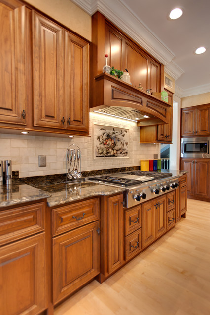 Cherry gourmet kitchen traditional kitchen other for Kitchen cabinet makers