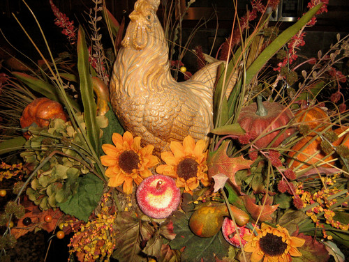 Fall Rooster Floral Arrangement traditional kitchen