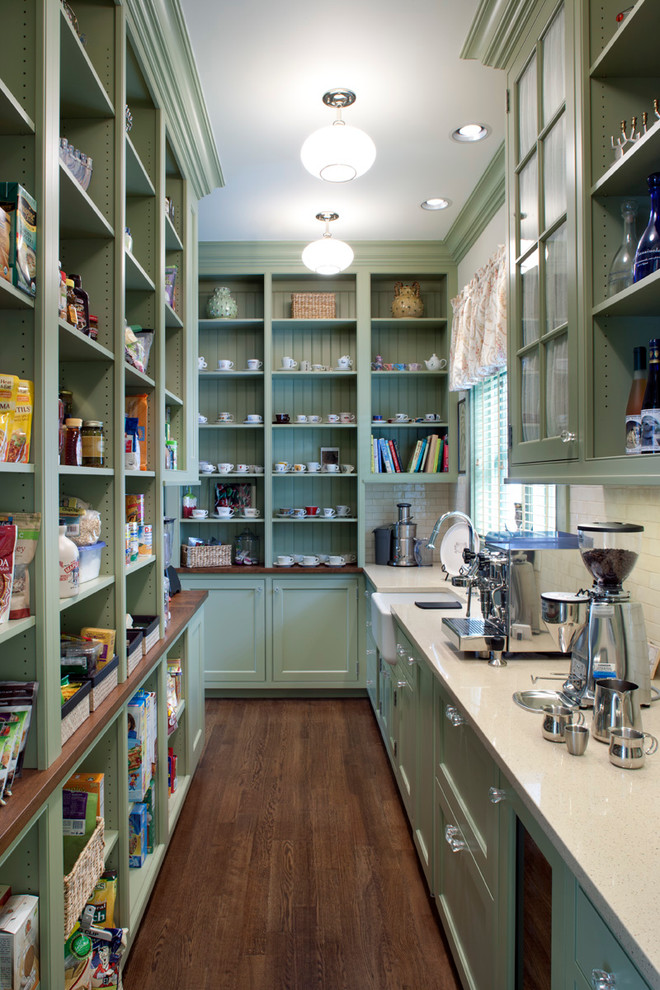 Inspiration for a timeless kitchen pantry remodel in Other with a farmhouse sink, open cabinets, green cabinets, white backsplash and subway tile backsplash
