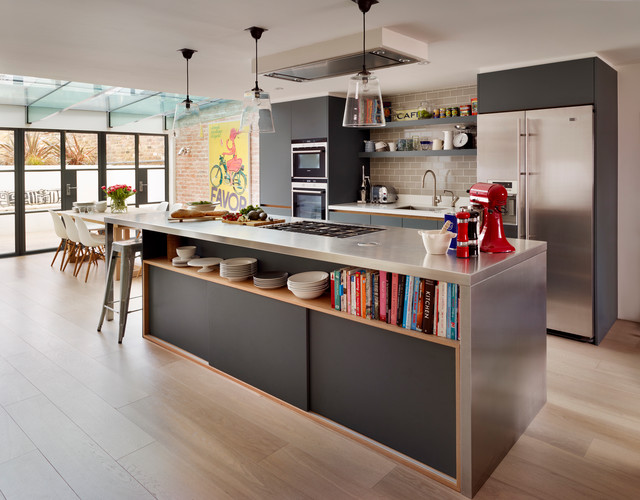 inspiration for a large contemporary light wood floor open concept kitchen remodel in london with an - Family Kitchen