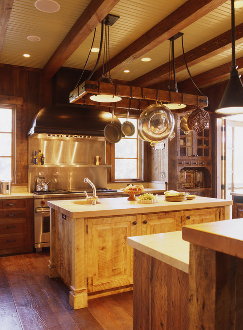 rustic kitchen Maximize Kitchen Space with Pot Racks