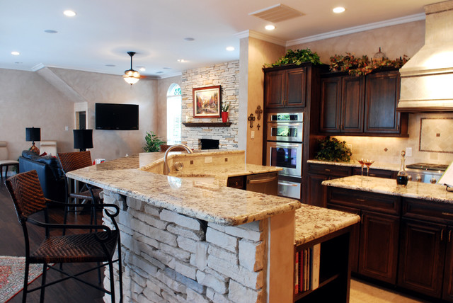 Family Room And Kitchen Brought Together Traditional