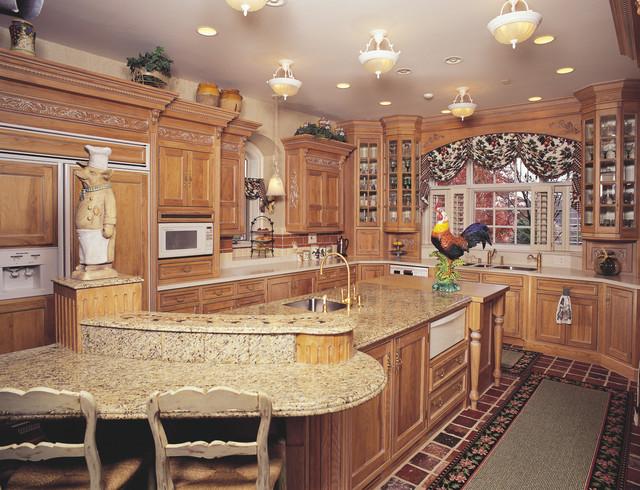 Fancy Glazed Hickory Kitchen farmhouse-kitchen