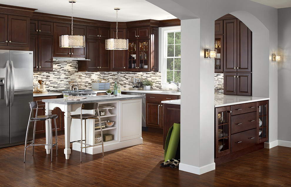 farilla cherry kitchen in cocoa with contrasting island - transitional - kitchen - detroit -