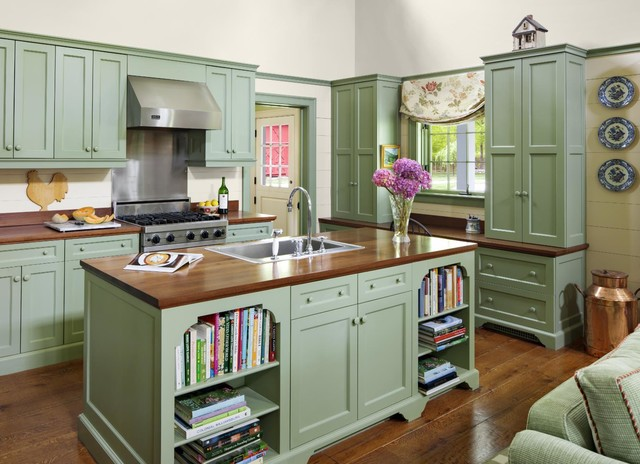 farm cottage traditional kitchen - Green Kitchen Cabinets