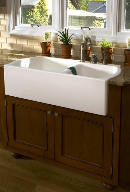 Farm sink traditional kitchen chicago by great for Corian farm sink price