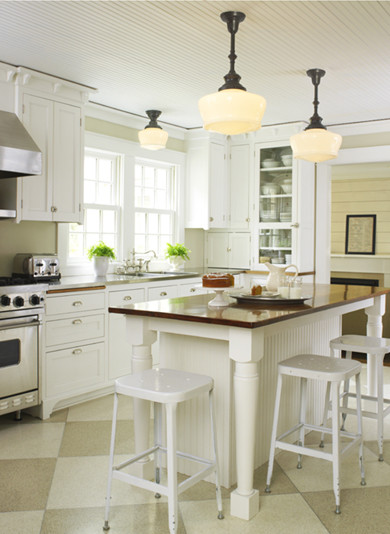 Farmhouse kitchen from school house electric traditional for Farmhouse style kitchen lighting