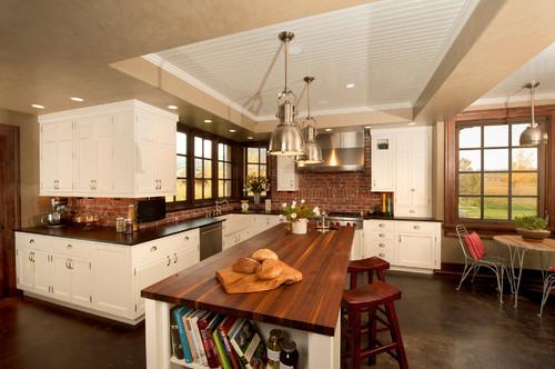 Whitewashed Brick Backsplash Tile With White Kitchen Cabinets