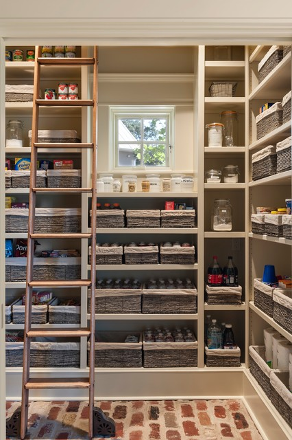 Inspiration for a country kitchen pantry in Houston with open cabinets, beige cabinets and brick floors.