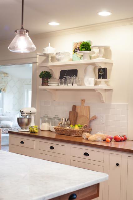 Farmhouse kitchen open shelves traditional kitchen for Traditional kitchen shelves