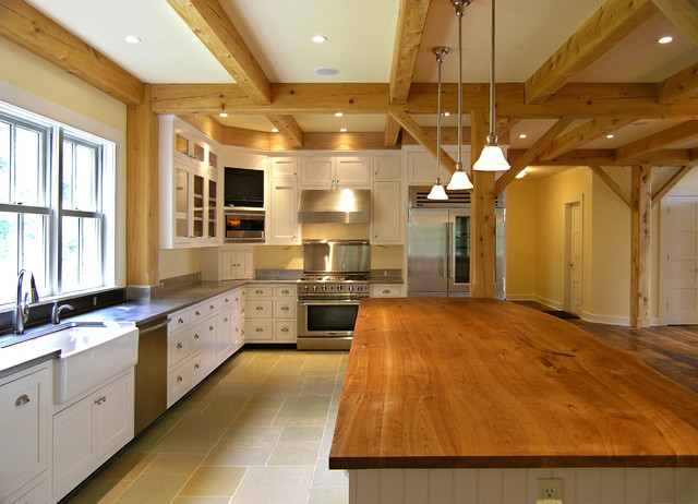 Farmhouse Kitchen Design Ideas eat in kitchen ideas for small kitchens small farmhouse kitchen design ideas remodels photos Country Kitchen Photo In Burlington With Glass Front Cabinets Stainless Steel Appliances A