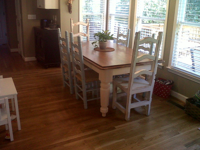Farmhouse kitchen table and chairs traditional kitchen for Traditional kitchen table sets
